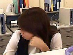 Attractive Oriental secretary takes a quick break to please