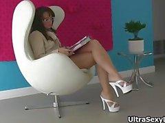 Cute secretary in hot heels showing part1