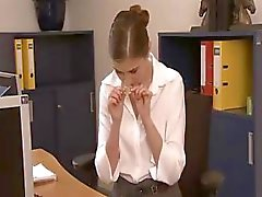Horny brunette secretary sucks and fucks two of her