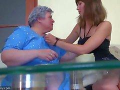 OldNanny teen and old chubby Granny mastubate