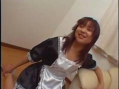 Japanese maid tickled by 2 bad guys