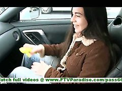 Nadine amateur cute brunette teen girl with perky tits is in the car toying her pussy with a banana