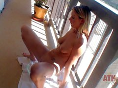 Sweet model Alysha Rylee with juicy tits peeing in a bowl