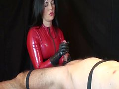 Perfect latex handjob