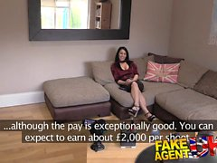 Fake Agent UK Posh raven haired MILF swallows big cock