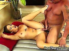 Asian massage slut sucks