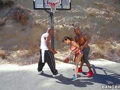 MILF Porn star Lisa Ann plays basketball with two black guys