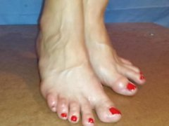 Cockcrush and footjob with red toenails