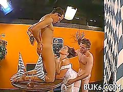 Lesbian beautiful babes receives group pissing