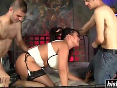 Lovely babe fucks with two guys