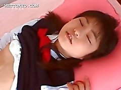 Shy asian schoolgirl getting hot cunnilingus in bed