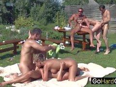 Three Couple Outdoor Garden Fuck Party 2