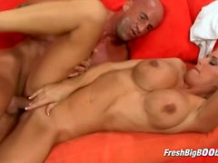 Busty Blonde Gets Picked Up and Fucked