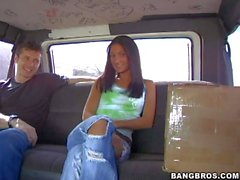 Amateur brunette Teen reveals her boobies in bang bus