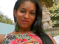 Natural tits shemale Fabiana Abelha ass fucked outdoors