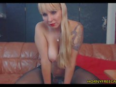 Blonde Tattooed Milf In Stockings Masturbates