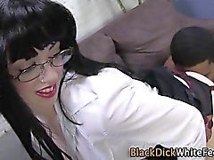 Stockings clad slut footfucked