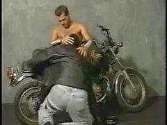 Two hotties leather bikers fucking