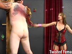 Mistress Brandi Lyons making her slave suffer