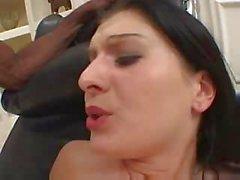 Perfect ass lingerie brunette loves black cock