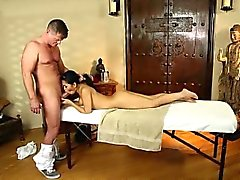 Hot oriental babe gives her masseur a deepthroat blowjob