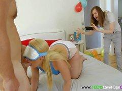 Blindfolded teen babe banged in threeway