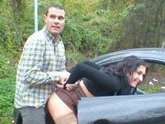 Fucking hot brunette in public on car