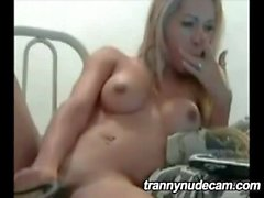 Perky shemale tranny jacks off on webcam
