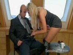 Hot blonde get&#039_s anal fucked on a yacht by a bald guy