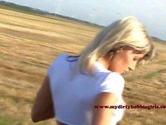 German Blonde Outdoor Fuck with Facial