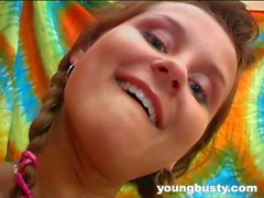 Pigtailed busty young Lucie fuck dildo