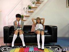 British milf in les threeway with schoolgirls