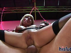 Busty blonde slut rides a big cock