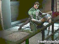 Sexy 3D babe getting fucked hard by the Green Lantern