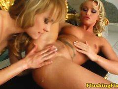 Fist fucking blonde dykes gaping pussy