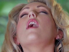 Stunning blonde in nylons Sarah Peachez masturbating