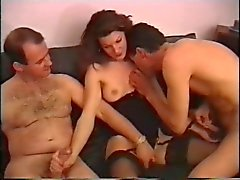 Slutty brunet has two guests over for dinner then has kinky threesome