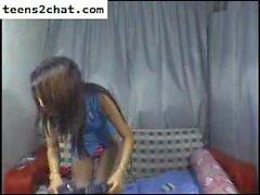 милая Китаянка на вебкамеру