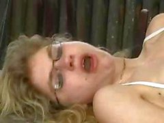 Blonde eats cock and then gets fisted and gets her ass drilled