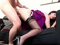 Stockings clad milf rammed