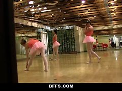 Super horny cute ballerina girls plays each others pussies