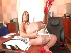 Sexy secretary Nikita is alone in the office so she masturbates