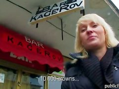 Pretty blonde European gambler Laura paid for hard boning