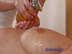 Massage Rooms Big boobs beauty gets wet with orgasm