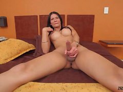 Foxy tgirl in a cook jerking act