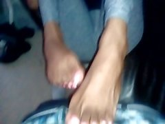 Ebony girl Dominique POV foot worship