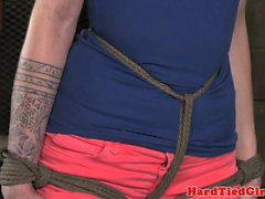 Breath play Maia Davis in rope harness