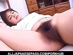 Hitomi Kiryuu Asian gets fingers in hairy cunt while sleeping