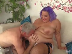 Cute BBW Jade Rose gets pussy filled with coc