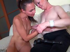 Old mature fucking with lesbina girl and toy